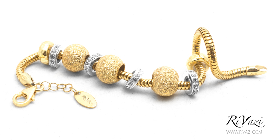 RiVazi 24K Gold Plated Trio Flash Charm Bracelet